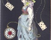 Moleskine blank sketchbook journal w antique paper COLLAGE Victorian Adult Alice in Wonderland Watch Rabbit Hare Cards