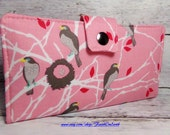 Handmade Long Wallet  BiFold Clutch- Vegan Wallet - Cottage Birds in pink
