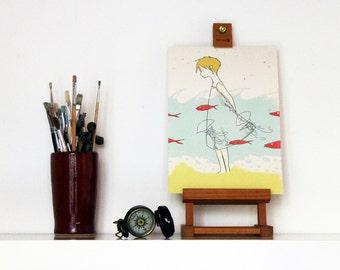 Girl at the beach illustration print nautical decor poster