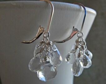 Icicle Earrings, Leverback clear earrings, sparkly earrings, teardrop, leverback earrings, gemstone earrings