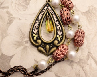 Vintage Banana Bob Art Nouveau Pendant with Swarovski Crystal and Rosary Beads Necklace