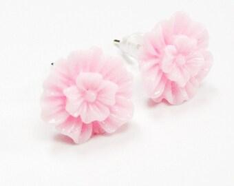 Pink Rose Earings Pink Flat Roses Studs Soft Pink Ear Posts Silver Tone Earstuds Baby Pink Rose Flower Earrings