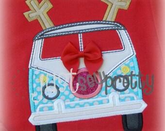 Reindeer Christmas Vintage Bus Embroidery Applique Design