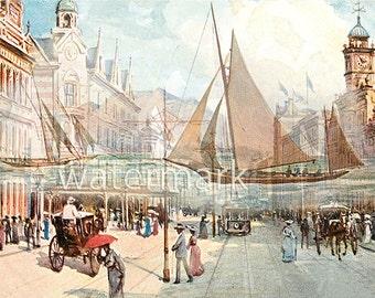 Sailboats England Street Scene Parallel Universe Victorian Post Card Altered Art Vintage Scrapbook Instant Digital Download Printable