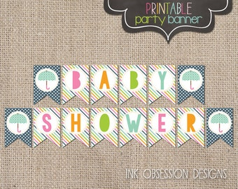 Printable Baby Shower Banner Instant Download PDF for Girls or Boys Baby Showers