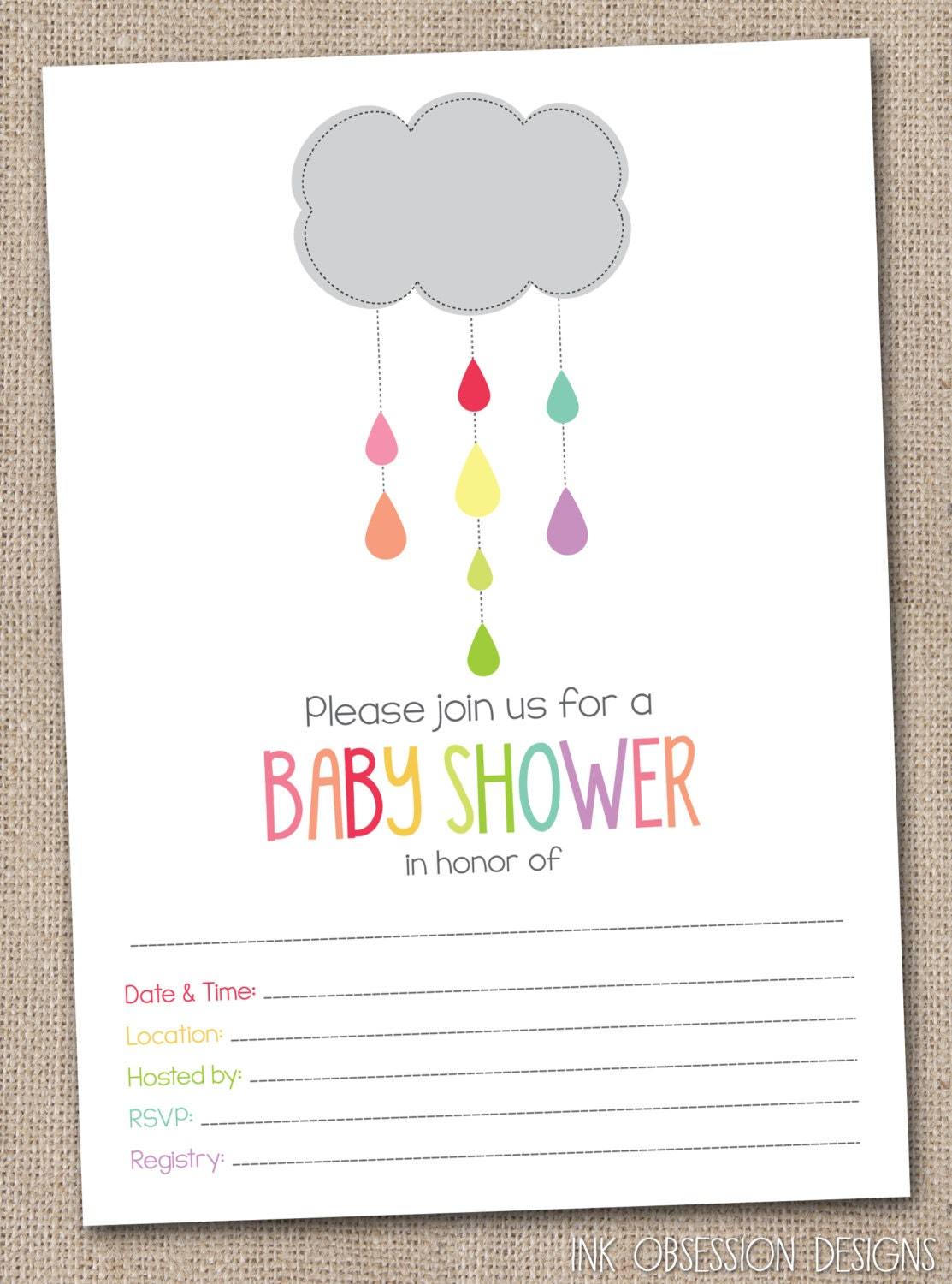 Instant download baby shower invitations by inkobsessiondesigns for Instant download invitations