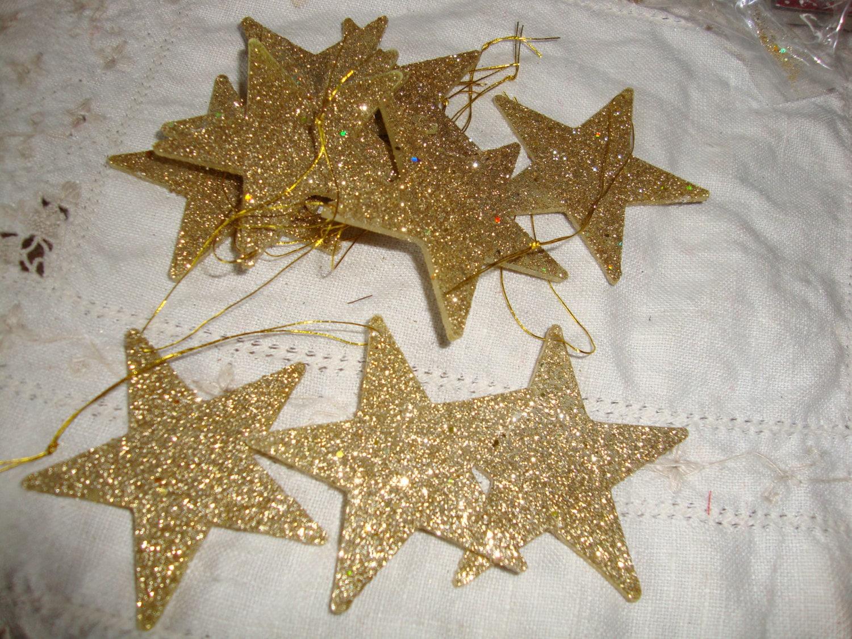 Glitter star ornaments gold stars mini christmas tree decor