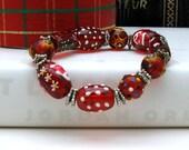 Christmas Holiday Red Modern Beaded Bracelet Stretch Stocking Stuffer