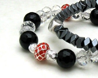 Red and Black Modern Beaded Bracelet with Clear Crystal, Black Onyx Crystal Partner Bracelet, For Her Under 100