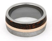 Rose Gold Wedding Band for Him or Her w Dinosaur Bone and Gibeon Meteorite Inlaid Alongside a 14K Rose Gold Pinstripe, Custom Wedding Band