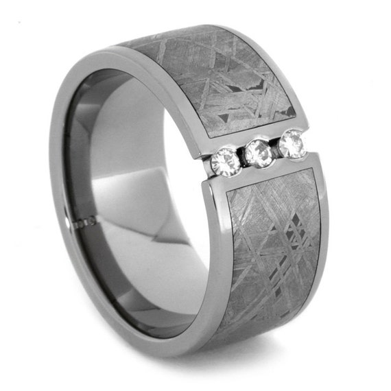 Meteorite Wedding Band for Him, Titanium Wedding Ring With Meteorite Inlay, His Wedding Band, Multistone Wedding band