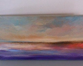 Glowing Sands- 10 x 20- Original Oil Painting- Sand Dune- Purple- Water- Peach- Pink- Beach- Sky Clouds- Peaceful