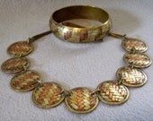 Vintage 70s Unsigned Carol for Eva Graham Gold Brass Copper Weave Mixed Metal Necklace Choker and Bangle Bracelet Braided