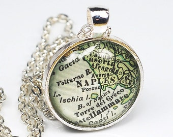 Naples Map Necklace- Vintage Map Pendant Jewelry from Antique 1929 Atlas, Italy Map Necklace, Map Jewelry, Naples Necklace, Naples Pendant