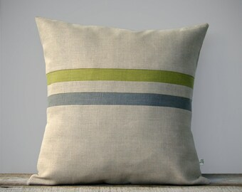 Moss Green and Stone Gray Striped Linen Pillow Cover - Fall Home Decor by JillianReneDecor - Autumn - Linden Green - FW2015