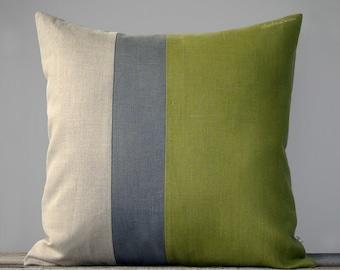 Linden Green and Grey Colorblock Pillow (20x20) Fall Home Decor by JillianReneDecor - Moss