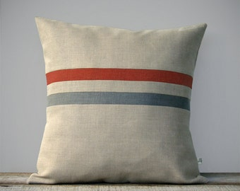 Decorative Pillow Cover   Burnt Orange and Grey Stripes by JillianReneDecor (16x16) Fall Home Decor - Natural Linen - FW2015