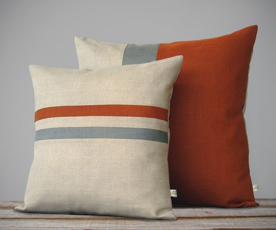 Color Block & Stripe Pillow Set Burnt Orange and Grey