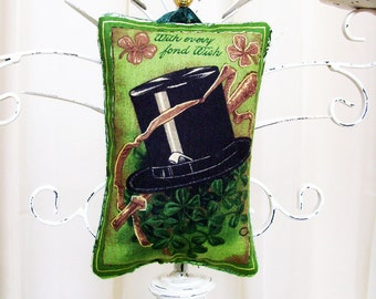 With Every Fond Wish Irish Ornament / St. Patrick's Day Ornament / Green Shamrocks & Black Top Hat / Unique GIft Under 20