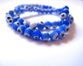 6mm Periwinkle Blue Round Glass Evil Eye Beads-10 pieces in a bag