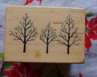 Three Winter Trees Vintage Rubber Stamp