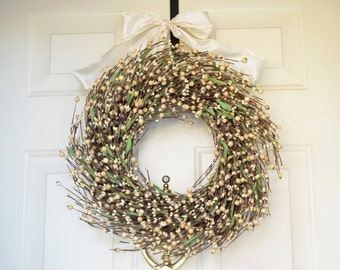 Cream mixed berry wreath -  Year round wreath - Front Door Decor - Holiday wreath
