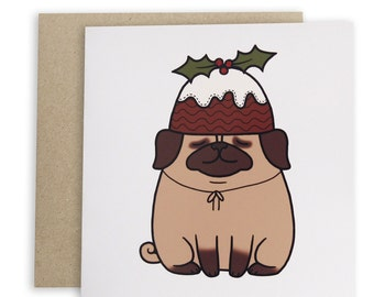 Pudding Pug Christmas Card