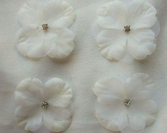 18 PC Rhinestone Beaded Flower Applique Cream Ivory Baby Hydrangea Petals Bridal Christening Bow