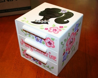 personalized jewelry box bow holder diva barbie girl doll bling