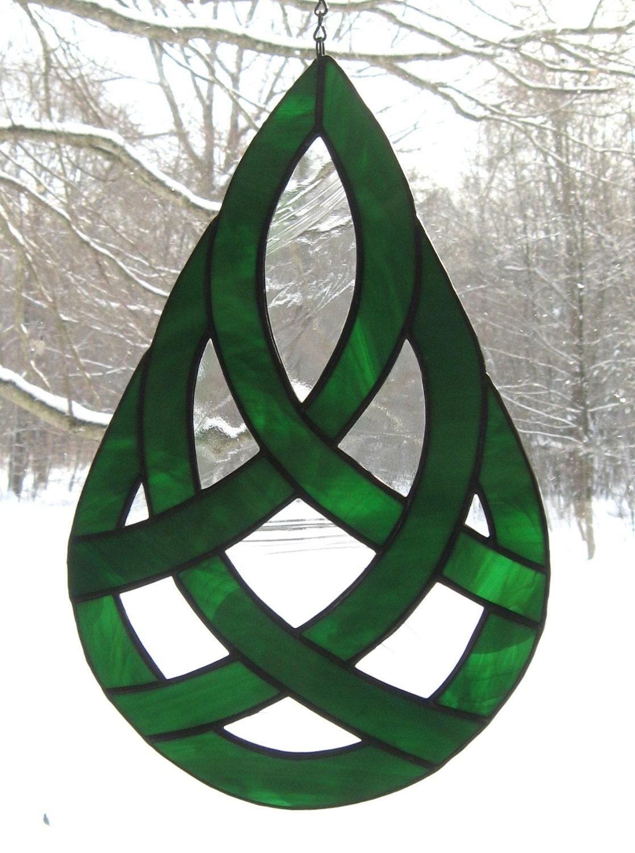 Celtic Teardrop Stained Glass Suncatcher by valleybeadglassart