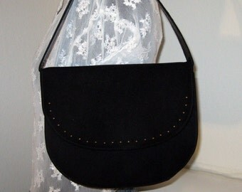Lennox bags evening bag Kelly bag flap top  purse vintage early  60s unique black supersuede lamb leather