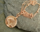 Tiny Rose Gold Tree - Artisan Rose Gold Vermeil and Rose Gold Fill Necklace