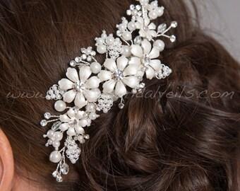 Pearl and Rhinestone Bridal Hair Comb, Rhinestone Wedding Headpiece, Wedding Hair Accessory - Rebecca