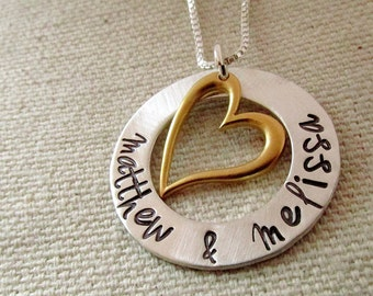 Happy Couple -  Personalized Necklace - Hand Stamped Jewelry - Mom Necklace