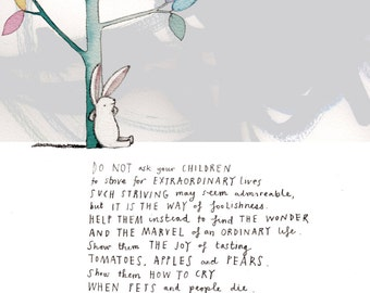A Message...A4 Art Print/Giclee Print of Watercolour and Poem (8.5 x 11 inches).