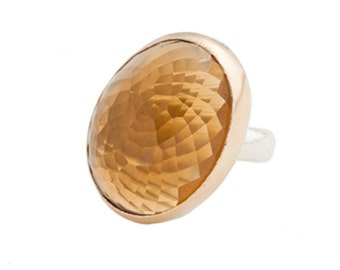 Honey Quartz Cocktail Ring Handmade with Recycled 14k gold and Sterling Silver