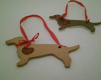 SALE Daschund Heart Ornament