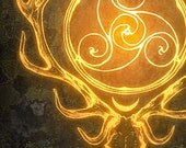 Stag Lord - Herne Cernunnos Celtic Bone Bann Disc Gold Spiral Deer Wood Moss Ancient Forever Goddess God