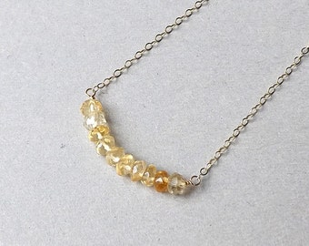 Citrine Bar Necklace Yellow Citrine November Birthstone Pendant Simple Minimalist Gemstone Jewelry Gift Idea for her