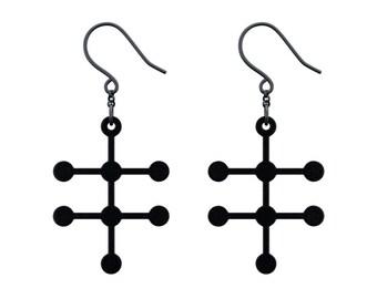 Alcohol Molecule Earrings - Matte Black