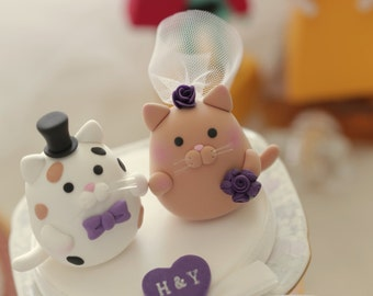 cat and kitty Wedding Cake Topper---k835