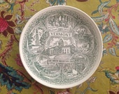 VERMONT Collectors Plate Green Mountain State Landmarks Americana Vintage Kitchen Decorative Dinner Plate