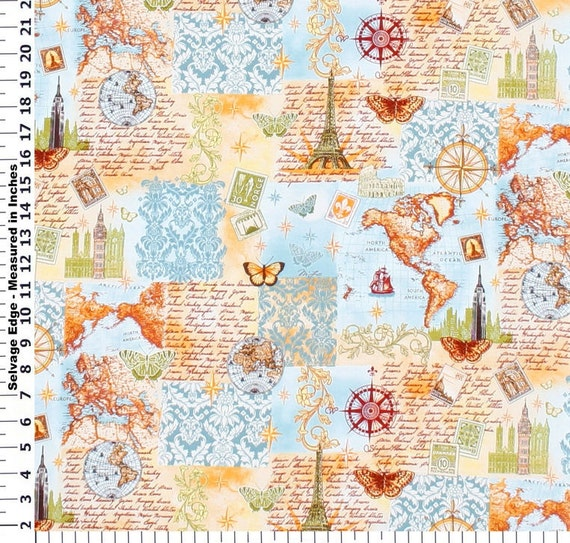 World travel fabric by the yard for Children s clothing fabric by the yard
