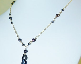 Black spinel,black pearl and gold necklace,adjustable,gold necklace,black and gold,mystic spinel,drop necklace,pendant,wedding jewelry,