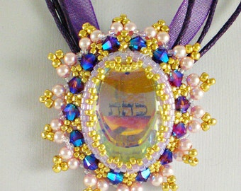 Swarovski Crystals Pearls Pink Purple  Kabbalah Pendant Necklace Beadwoven Beaded Beadweaving Good Luck charm