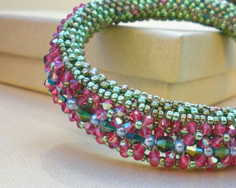 Bangle Bracelet Crystal  Green Pink Blue  Unique  Jewelry Beaded Beadwork Beadweaving