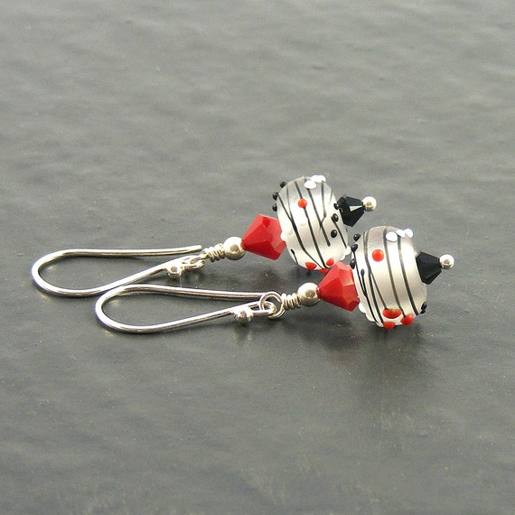 White Red & Black Earrings by Erika Price Jewellery