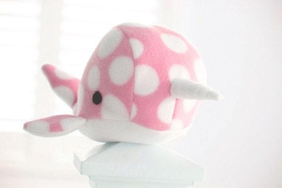 Handmade narwhal plush toy- Dot- Blue polkadot soft fleece whale narwal plushie