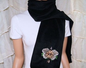 SteamPunk Compass Ivory Roses Embroidered Black Scarf MTCoffinz