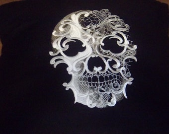 Baroque Skull Embroidered Pillow